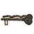Vintage Black Crystal 'Key' Three Finger Ring In Burnt Gold Metal - Adjustable - 6cm Length