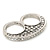 Vintage Pave-Set Diamante 'Knuckles' Double Finger Ring In Burn Silver - 45mm Width - Size 7/8 - view 4