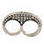 Vintage Pave-Set Diamante 'Knuckles' Double Finger Ring In Burn Silver - 45mm Width - Size 7/8 - view 2