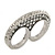 Vintage Pave-Set Diamante 'Knuckles' Double Finger Ring In Burn Silver - 45mm Width - Size 7/8 - view 5