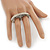 Vintage Pave-Set Diamante 'Knuckles' Double Finger Ring In Burn Silver - 45mm Width - Size 7/8 - view 3