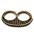 Vintage Pave-Set Diamante 'Knuckles' Double Finger Ring In Burn Gold Metal - 45mm Width - Size 7/ - view 1