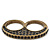 Vintage Pave-Set Diamante 'Knuckles' Double Finger Ring In Burn Gold Metal - 45mm Width - Size 7/ - view 6