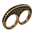 Vintage Pave-Set Diamante 'Knuckles' Double Finger Ring In Burn Gold Metal - 45mm Width - Size 7/ - view 4