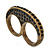 Vintage Pave-Set Diamante 'Knuckles' Double Finger Ring In Burn Gold Metal - 45mm Width - Size 7/ - view 5