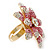 Large Dimensional Clear/ Pink Swarovski Crystal Narcissus Cocktail Ring In Gold Plating - 40mm Diameter - Size 7/8 (Adjustable) - view 5