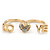 Gold Plated Double Finger Diamante 'Love & Heart' Ring - Size 7&8 - view 2