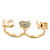Gold Plated Double Finger Diamante 'Love & Heart' Ring - Size 7&8 - view 7