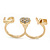 Gold Plated Double Finger Diamante 'Love & Heart' Ring - Size 7&8 - view 8