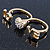 Gold Plated Double Finger Diamante 'Love & Heart' Ring - Size 7&8 - view 5
