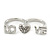 Rhodium Plated Double Finger Diamante 'Love & Heart' Ring - Size 7&8 - view 2