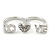 Rhodium Plated Double Finger Diamante 'Love & Heart' Ring - Size 7&8 - view 7