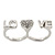 Rhodium Plated Double Finger Diamante 'Love & Heart' Ring - Size 7&8 - view 5