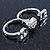 Rhodium Plated Double Finger Diamante 'Love & Heart' Ring - Size 7&8 - view 4