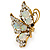 Large Clear & AB Crystal Butterfly Ring In Antique Gold Metal - Adjustable - Size 7/8 - view 6