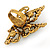 Large Clear & AB Crystal Butterfly Ring In Antique Gold Metal - Adjustable - Size 7/8 - view 3