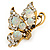 Large Clear & AB Crystal Butterfly Ring In Antique Gold Metal - Adjustable - Size 7/8 - view 4