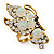 Large Clear & AB Crystal Butterfly Ring In Antique Gold Metal - Adjustable - Size 7/8 - view 5