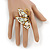 Large Clear & AB Crystal Butterfly Ring In Antique Gold Metal - Adjustable - Size 7/8 - view 2