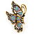 Large Hematite & AB Crystal Butterfly Ring In Antique Gold Metal - Adjustable - Size 7/8