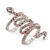 Wide Pink Austrian Crystal 'Coiled Snake' Double Band Ring In Rhodium Plating - 50mm Width - Size 8 - view 5