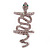 Wide Pink Austrian Crystal 'Coiled Snake' Double Band Ring In Rhodium Plating - 50mm Width - Size 8 - view 8