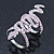 Wide Pink Austrian Crystal 'Coiled Snake' Double Band Ring In Rhodium Plating - 50mm Width - Size 8 - view 7
