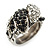Vintage Inspired Black/ White Crystal Two Intertwined Snake Ring In Burn Silver - Size 7 - view 4