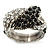 Vintage Inspired Black/ White Crystal Two Intertwined Snake Ring In Burn Silver - Size 7 - view 7