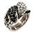 Vintage Inspired Black/ White Crystal Two Intertwined Snake Ring In Burn Silver - Size 7 - view 8