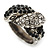 Vintage Inspired Black/ White Crystal Two Intertwined Snake Ring In Burn Silver - Size 7 - view 10