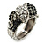 Vintage Inspired Black/ White Crystal Two Intertwined Snake Ring In Burn Silver - Size 7 - view 11