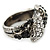 Vintage Inspired Black/ White Crystal Two Intertwined Snake Ring In Burn Silver - Size 7 - view 5