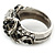 Vintage Inspired Black/ White Crystal Two Intertwined Snake Ring In Burn Silver - Size 7 - view 6