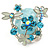 Exquisite Light Blue Flower And Butterfly Cocktail Ring In Rhodium Plating - Adjustable size 7/8 - view 4