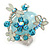Exquisite Light Blue Flower And Butterfly Cocktail Ring In Rhodium Plating - Adjustable size 7/8 - view 6