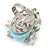 Exquisite Light Blue Flower And Butterfly Cocktail Ring In Rhodium Plating - Adjustable size 7/8 - view 3