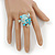 Exquisite Light Blue Flower And Butterfly Cocktail Ring In Rhodium Plating - Adjustable size 7/8 - view 2