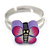 Children's/ Teen's / Kid's Purple Fimo Butterfly Ring In Silver Tone - Adjustable - view 2
