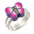Children's/ Teen's / Kid's Purple Fimo Butterfly Ring In Silver Tone - Adjustable - view 4