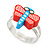 Children's/ Teen's / Kid's Red/ Light Blue Fimo Dragonfly Ring In Silver Tone - Adjustable