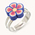 Children's/ Teen's / Kid's Purple, Pink Fimo Flower Ring In Silver Tone - Adjustable - view 2