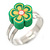 Children's/ Teen's / Kid's Green Fimo Flower Ring In Silver Tone - Adjustable