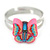 Children's/ Teen's / Kid's Pink, Blue Fimo Butterfly Ring In Silver Tone - Adjustable - view 2