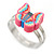 Children's/ Teen's / Kid's Pink, Blue Fimo Butterfly Ring In Silver Tone - Adjustable - view 4