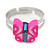 Children's/ Teen's / Kid's Deep Pink Fimo Butterfly Ring In Silver Tone - Adjustable - view 2