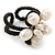Cream Freshwater Pearl Flower Wire Band Ring  - Size 7/9 - Adjustable - view 6