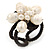 Cream Freshwater Pearl Flower Wire Band Ring  - Size 7/9 - Adjustable - view 2