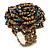 Peacock, Golden Glass Bead Flower Stretch Ring - 35mm Diameter