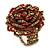 Red, Golden Glass Bead Flower Stretch Ring - 35mm Diameter